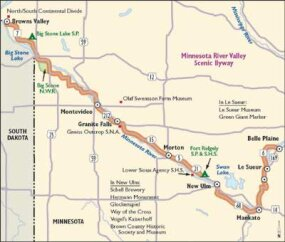 View Enlarged Image Explore the riches of the Minnesota River Valley as you follow this map through the cultural and agricultural heart of the state.