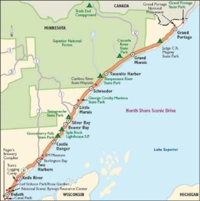 View Enlarged Image This map of the North Shore Scenic Drive will take you up the beautiful Lake Superior coastline.