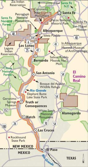Enjoy mountain scenery, visit historical American Indian sites, and explore some of the beautiful cities of New Mexico as you follow this map of El Camino Real.