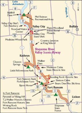 Follow the Sheyenne River Valley Scenic Byway through historical American Indian territory and North Dakota's beautiful oak savannah.