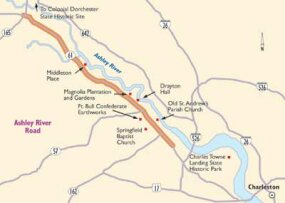 View Enlarged Image Follow this map of Charleston's Ashley River Road to see historic plantations and canopies of live oaks.