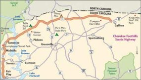 View Enlarged Image Follow this map of Cherokee Foothills Scenic Highway to explore the lush hills of South Carolina's Piedmont region.