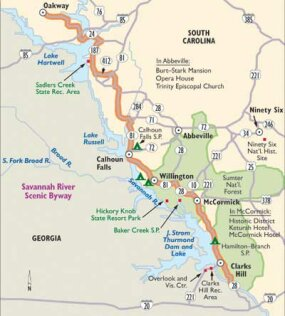 View Enlarged Image Follow this map of the Savannah River Scenic Byway to explore quaint towns and rolling farmland. Discover the intrinsic charm of this southern byway.
