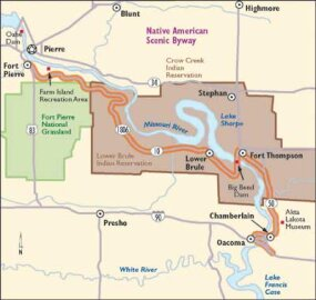 View Enlarged Image This map of the Native American Scenic Byway will help you explore fascinating Sioux tribal lands. Wildlife is plentiful along the route.
