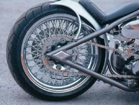 Spoke wheels give this chopper a classic look.