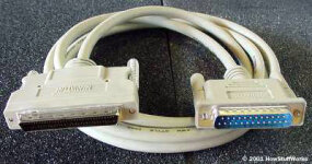 External SCSI devices connect using thick, round cables.