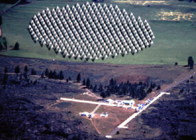 The Allen Telescope Array (top: prototype seven-dish array; bottom: artist concept of completed array)