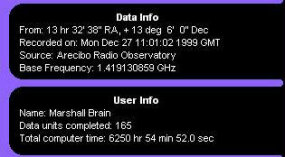 Data/user information portion of the SETI@home screen