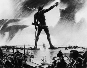 An artist's rendering of the Colossus of Rhodes shows the statue straddling the island's harbor, circa 250 B.C.