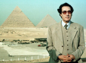 In 1999, Egyptian Culture Minister Faruq Hosni, posing here against the Great Pyramid, defended the architectural integrity of the pyramids in the wake of the contest to elect the new seven wonders of the world.