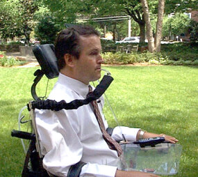 People with high tetraplegia can drive their wheelchairs independently using a sip-and-puff control device.