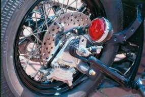The Shovelglide chopper's taillight comes from an old Ford automobile.