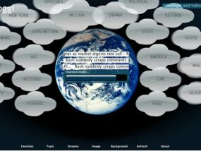 Buzzoggi uses Silverlight to gather hot topic key words from several news RSS feeds and display them in a cloud.