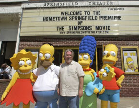 """Simpsons"" creator Matt Groening (center) at the premiere of ""The Simpsons Movie"" in Springfield, Vt."