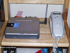 The author used a Linksys WRTP54G wireless router for Vonage service.