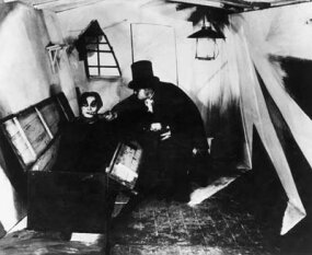 "A scene from the German silent film ""The Cabinet of Dr. Caligari,"" directed by Robert Wiene"