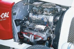 The engine in the So-Cal Roadster is a Chevy 355 equipped with a Holley 420 MegaBlower supercharger.