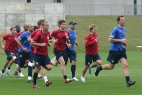 Members of the U.S. Men's National Soccer team during practice prior to the 2006 World Cup.