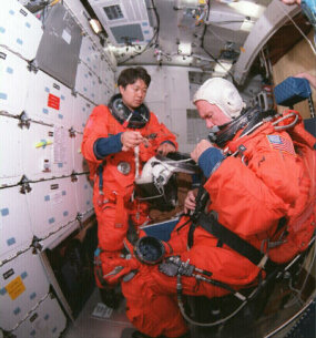 Latest shuttle flightsuit used during liftoff and re-entry