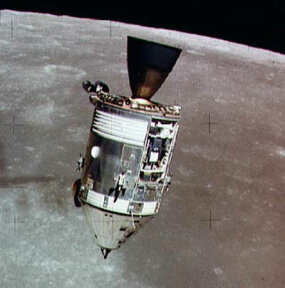 A picture of the Apollo 15 CSM taken from the detached lunar module.