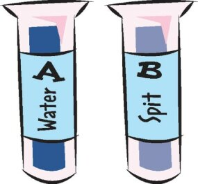 How can you spit enough to fill a test tube?