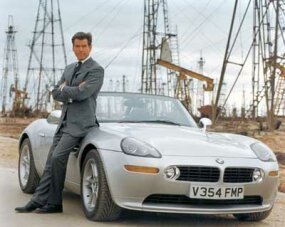 "Pierce Brosnan as Bond, with his BMW Z8 from ""The World is Not Enough."""