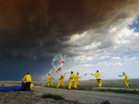 Members of S.T.E.P.S. (Severe Thunderstorm Electrification and Precipitation Study) launch a weather balloon into a tornadic supercell thunderstorm.