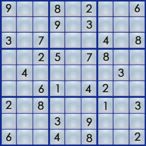 "A sudoku puzzle has some ""clues"" filled in."