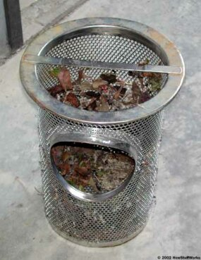 The strainer basket, removed for cleaning