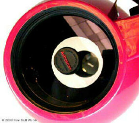 A view inside the barrel -- note the primary mirror, and the image of the secondary mirror reflected back onto the primary.
