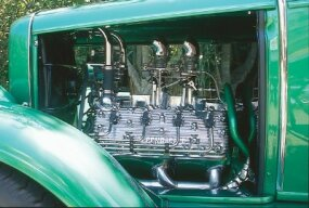 When The Grasshopper was restored, Motor City Flatheads shined up the old engine and replaced the transmission.