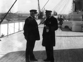 Lord Pirrie and Captain Edward J. Smith on the deck of the Olympic.