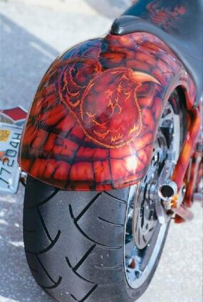 The intricate paint job is also displayed on Turbo Spike's rear fender.