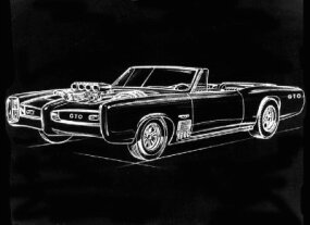 Pontiac's concept drawing of the Monkeemobile, suspiciously similar to the preexisting GTO.