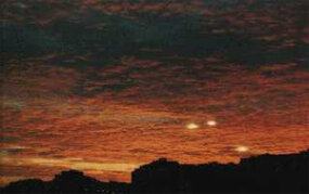 A photograph that seems to show some abnormal lights in the sky, taken at sunset in Spain in 1978