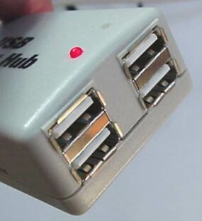 "A typical USB four-port hub accepts 4 ""A"" connections."