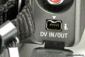 This sort of FireWire connector is common on digital camcorders. You attach a FireWire cable to this connector, and attach the other end to your computer.