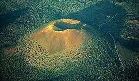 Sunset Crater, a scoria cone volcano in Arizona