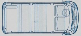 This VW illustration shows the eight-passenger seating arrangement. Seven seats were standard, and there was a camper model that seated five and slept four.