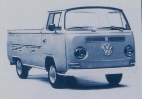 In addition to passenger and camper models, the Volkswagen Bus was available in a variety of cargo versions, including this pickup truck.