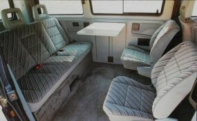 The 1986-1991 Volkswagen Bus still appealed for  features like this friendly seating arrangement. And the 1986 Syncro model was the first all-wheel-drive passenger van.