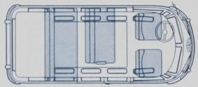 Passenger versions of the 1950-1959 Volkswagen Bus could carry up to nine on three rows of seats, as this floor plan shows.