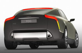 The Volvo YCC. The rear window extends to the extremities of the car, giving the driver a good field of vision.