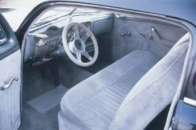 When Joe Eddy restored the Wally Welch Merc in 1985, he installed silver-gray cloth upholstery.