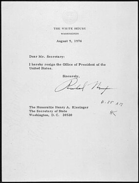 Nixon's letter of resignation, addressed to Henry Kissinger