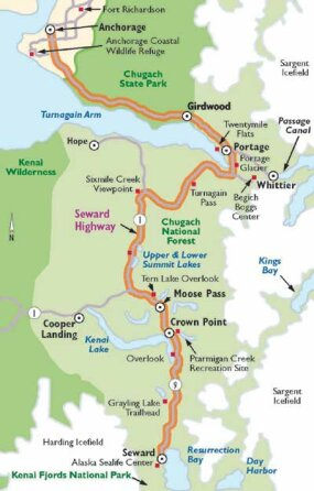This map will guide your travels along Seward Highway.