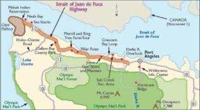 This map details Strait of Juan de Fuca Highway.
