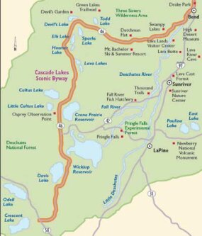 View Enlarged Image This map will guide you along Cascade Lakes Scenic Byway.