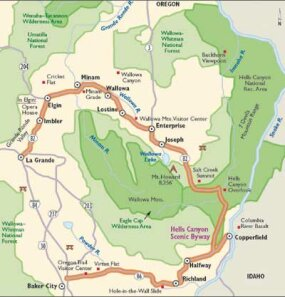 View Enlarged Image This map details Hells Canyon Scenic Byway.