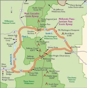 View Enlarged Image This map will guide you along the McKenzie/Santiam Pass Scenic Byway.
